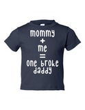 Mommy Me One Broke Daddy Funny Toddler Tee Navy 2T