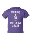 Mommy Me One Broke Daddy Funny Toddler Tee Purple 2T