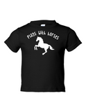 Play With Horses Funny Toddler Tee Black 2T