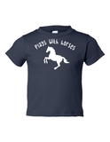 Play With Horses Funny Toddler Tee Navy 2T