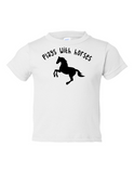 Play With Horses Funny Toddler Tee White 2T