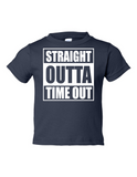 Straight Outta Time Out Funny Toddler Tee Navy 2T
