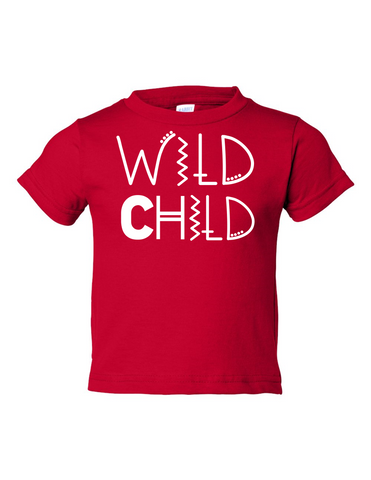 Wild Child Funny Toddler Tee Red 2T