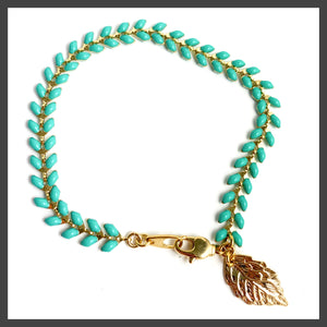 Burnet Bracelet in Gold/Teal/Leaf