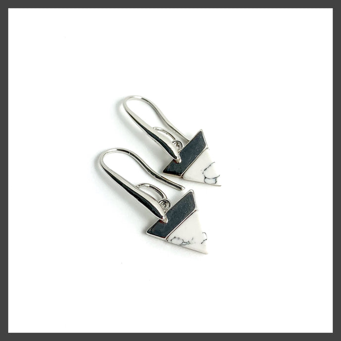 Solid Triangle Earrings in White Marble/Silver