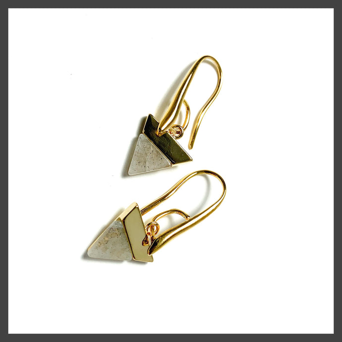 Solid Triangle Earrings in Labradorite/Gold