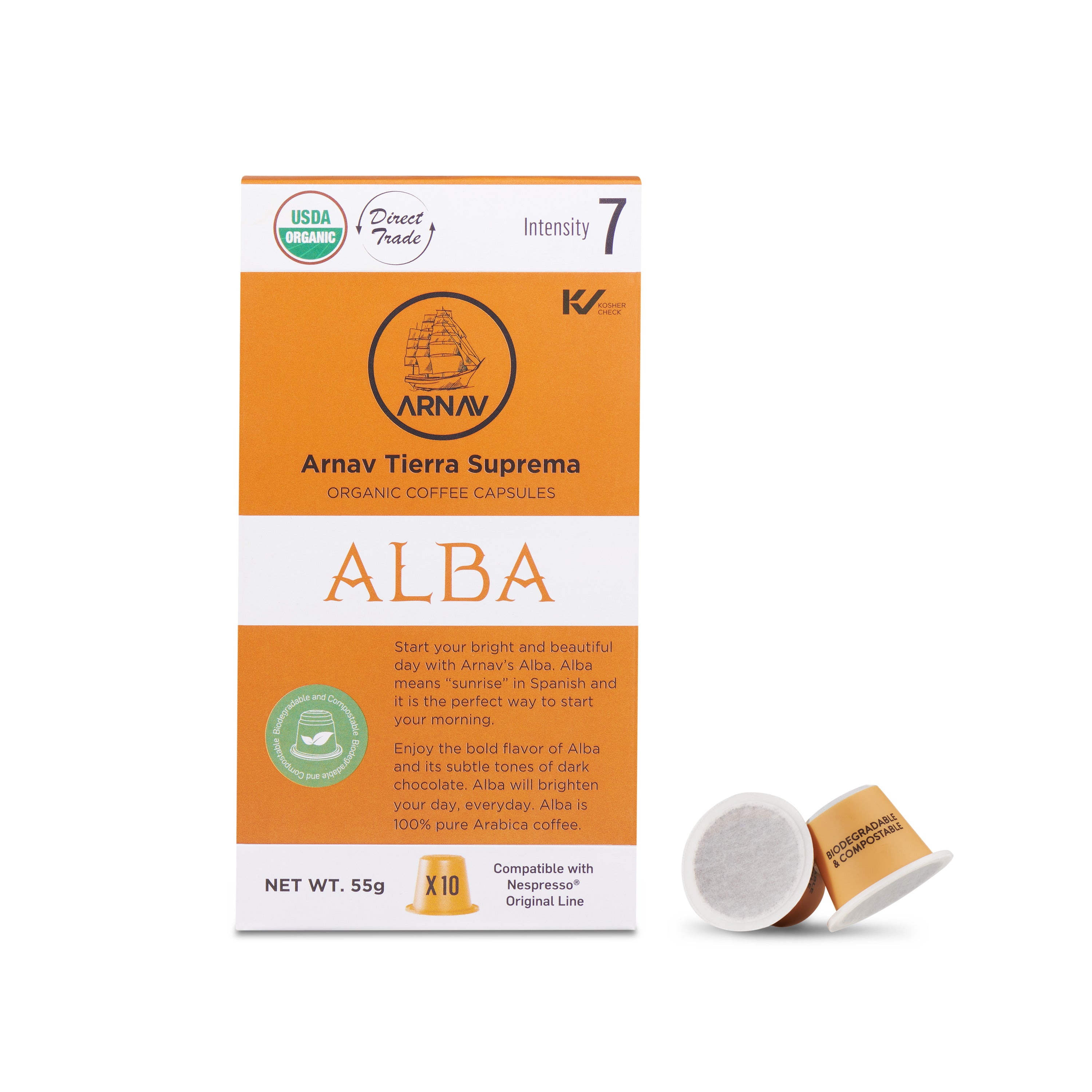 Alba Blend Organic Coffee in Biodegradable Capsules