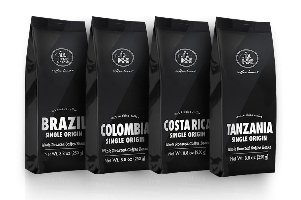 Single Origin Whole Bean Coffee Variety Pack (4 bags) - Cafe Joe USA