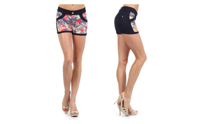 Floral Stretch Jean Shorts