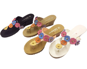 Spring Flower Leather Thong Sandals