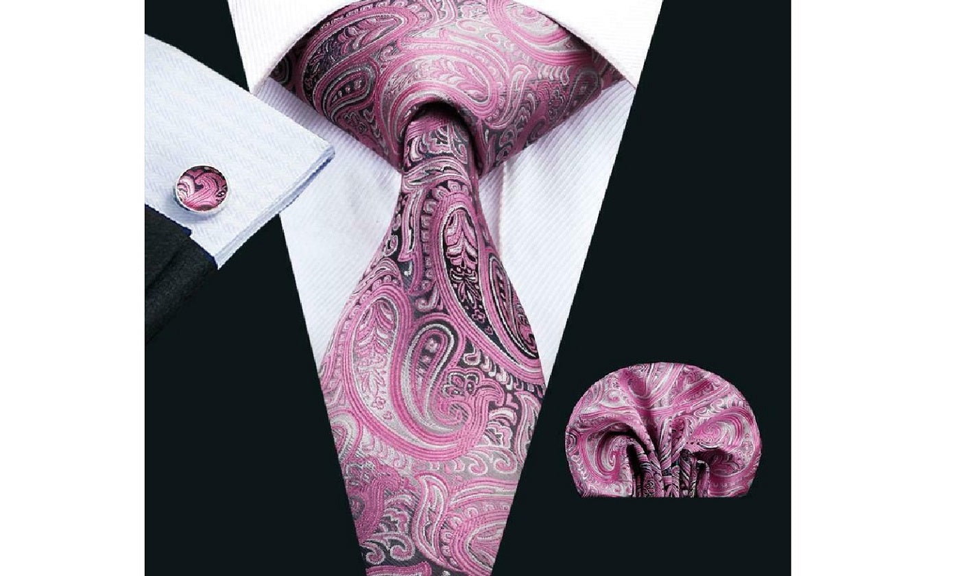 Designer Silk Tie Set (Purple)