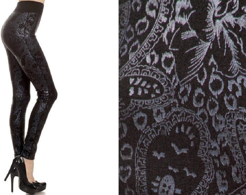 Metallic High Waist Leggings (Silver Paisley)