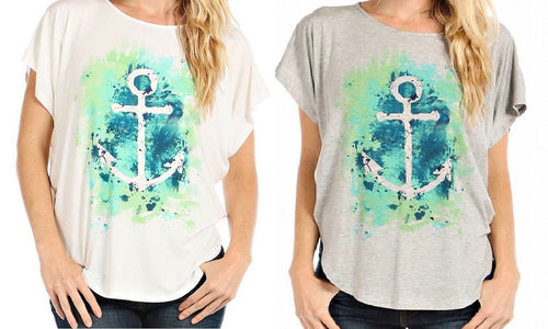 Relaxed Fit Sea Anchor Top with Wide Sleeves