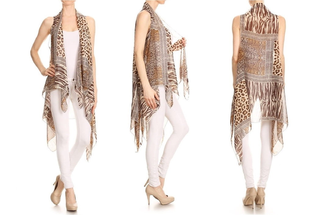 Openly Draped Vest Cardigan (Cheetah)