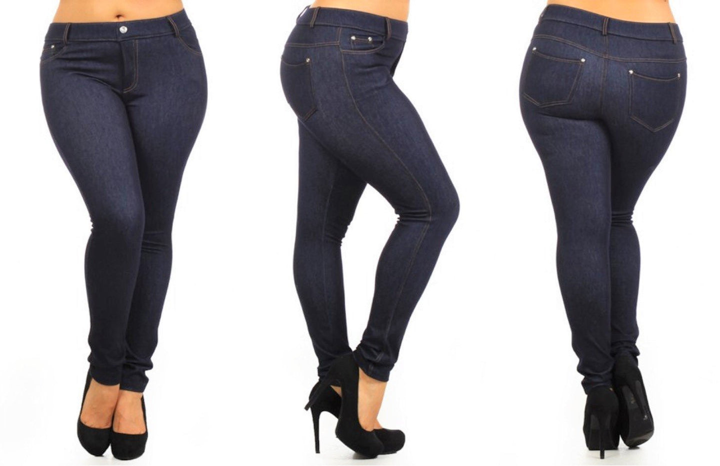 Stretchy & Soft Skinny Jean Leggings (Plus Size)