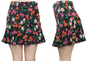 Fitted Flare Floral Skirt (Black)
