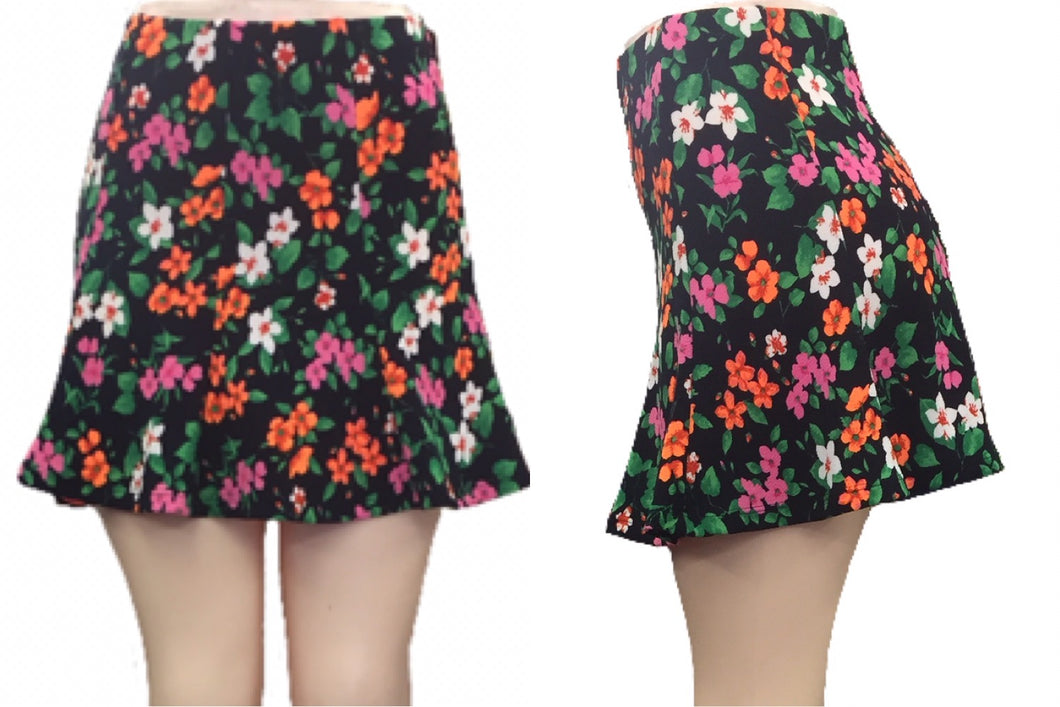 Fitted Flare Floral Skirt