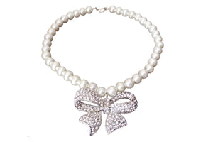 "17"" Pearl Necklace Rhinestone Bow Pendant"