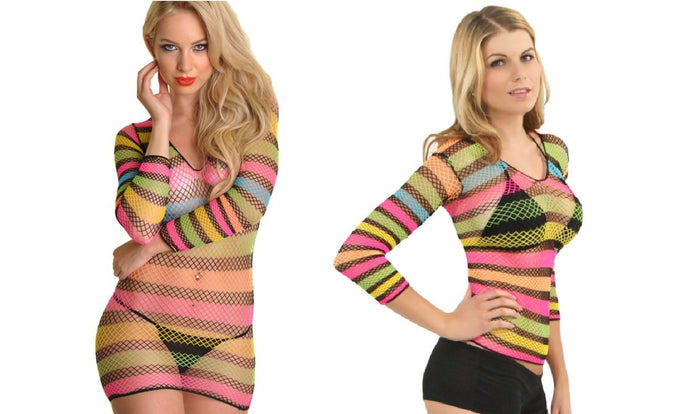 Convertible Colorful Rainbow Fishnet Top-to-Dress
