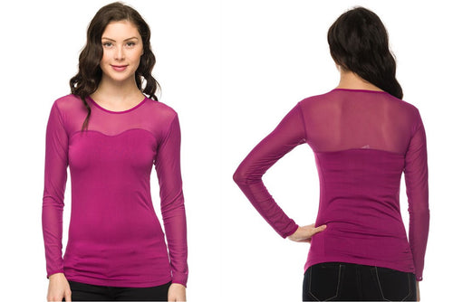 Seamless Mesh Sweetheart Top