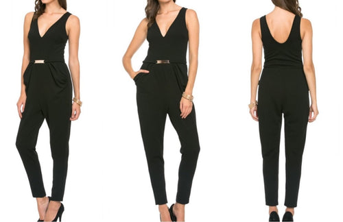 V-Neck Jumpsuit with Silver Belt Detail (M Only)