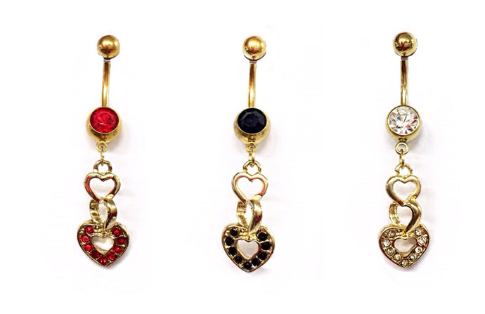 Stainless Steel Belly Rings - Dangling Hearts