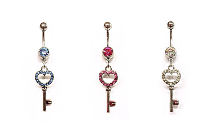 Stainless Steel Belly Rings - Key To Your Heart