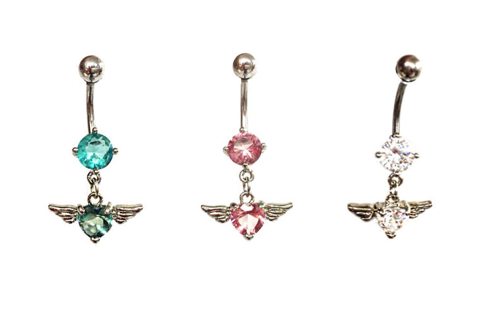 Stainless Steel Belly Rings - Flying Heart