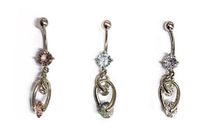 Stainless Steel Belly Rings - Dangling Crystals