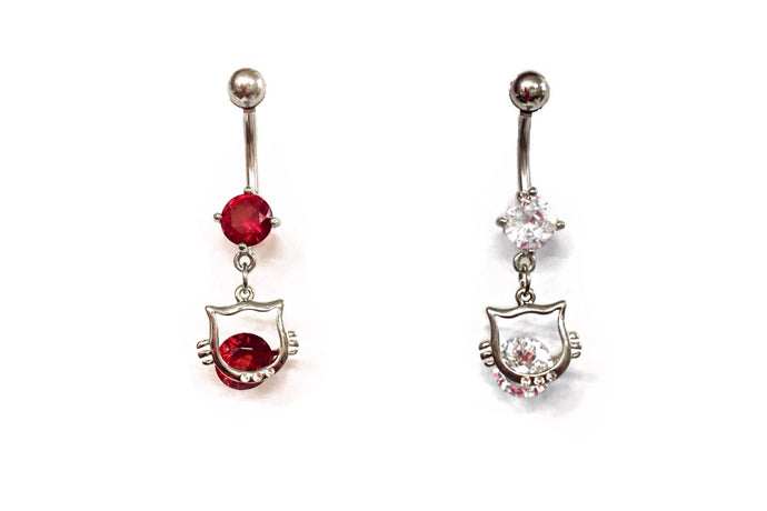 Stainless Steel Belly Rings - Kitty Cat