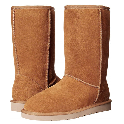 Eskimo Mid-Calf Comfort Boots with Suede & Fur (Tan)