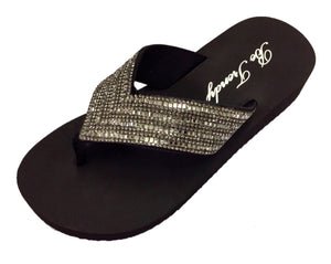 Women's Slip-On Thong Sandals with Crystal Embellishments