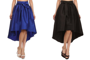 Flared High Low Long Skirt with Ribbon Accent