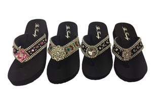 Slip-On Thong Sandals with Stone Embellishments
