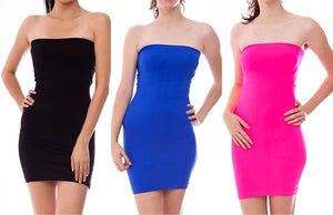 Strapless & Seamless Tube Top Dress with Ribbed Waist