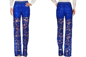 Wide Floral Lace Pants with Built-In Shorts