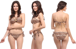 Bandeau Bikini Set in Cheetah Print