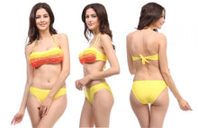 Bandeau Bikini Set with Highlighted Ruffles