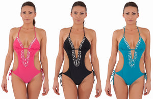 Pearl Detailed Monokini Summer Swimwear