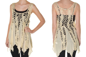 Relaxed Fit & Semi-Sheer Crochet Cover-Up Top