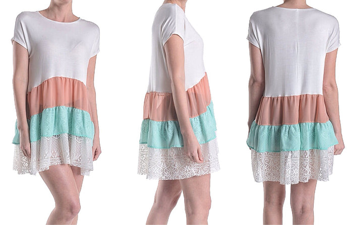 Semi-Sheer Fluttery Tiered Tunic Blouse with Lace