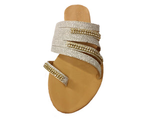 Slip On Rhinestone Sandals with Toe Strap