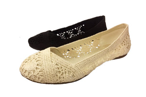 Crochet and Lace Covered Slip On Flats