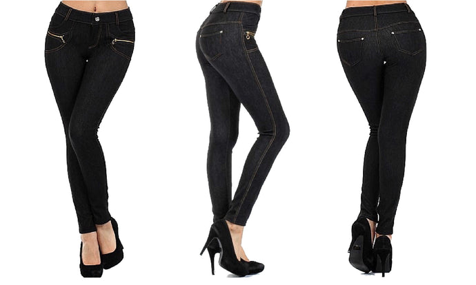 Stretchy & Soft Skinny Jean Leggings (Zipper Accent)