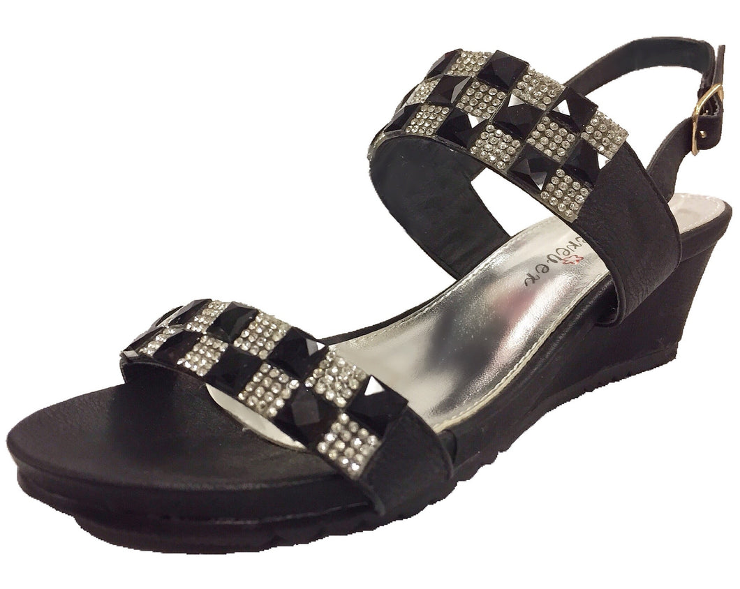 Platform Dress Sandals with Rhinestones