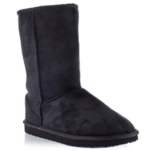 Eskimo Mid-Calf Comfort Boots with Suede & Fur (Black)