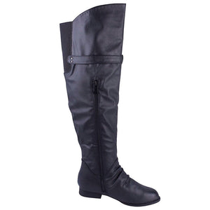 Tall Flat Boots with Buckle and Zipper Detail