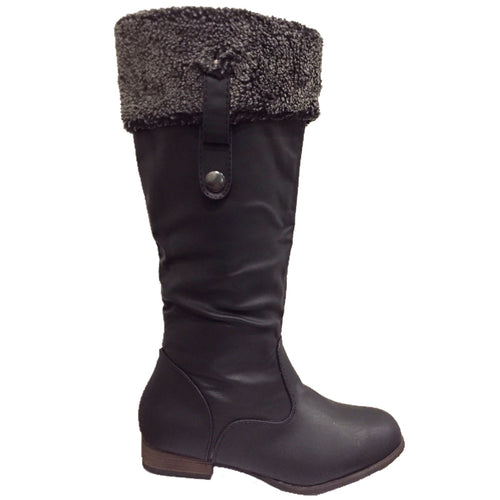 Tall Knee High Leather Flat Boots with Fur Cuffs