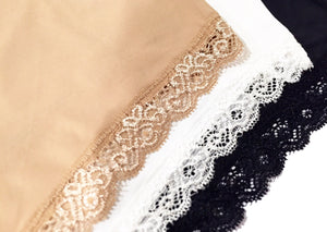 Silky Hip Hugging Panties with Lace Trim (Neutral Colors)
