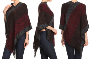 Relaxed Fit Knit Ponchos (Wine Red)